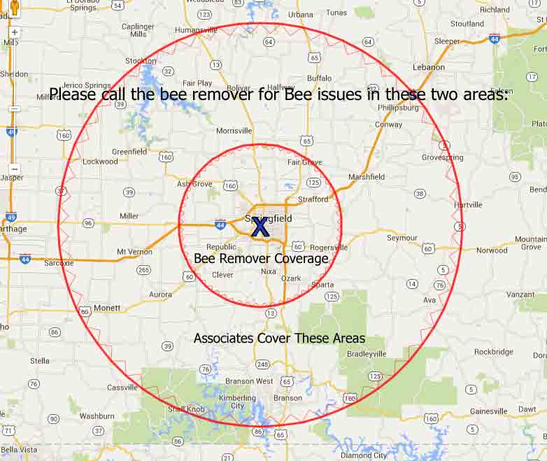 The Bee Remover Honeybee Swarm and removal Coverage Area Map